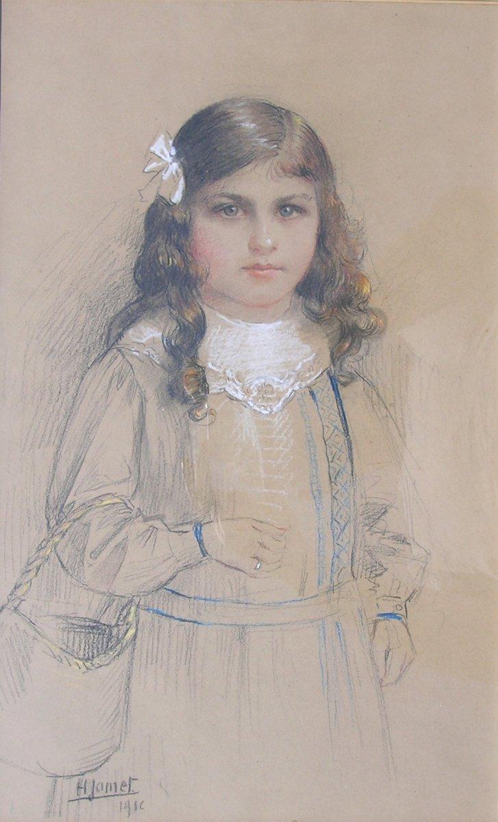 Henri Jamet (1858-1940) -crozant- Gargilesse-gien- Portrait Of Young Girl 1916