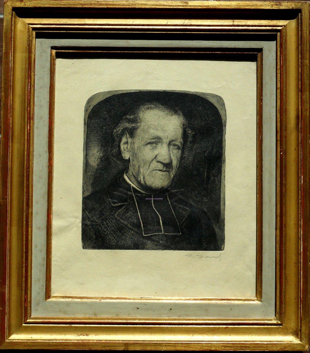 """RAOUL  DAVID(1876-1950) Vitré - Rennes - BRETAGNE """"eau forte """"curé breton"""""""