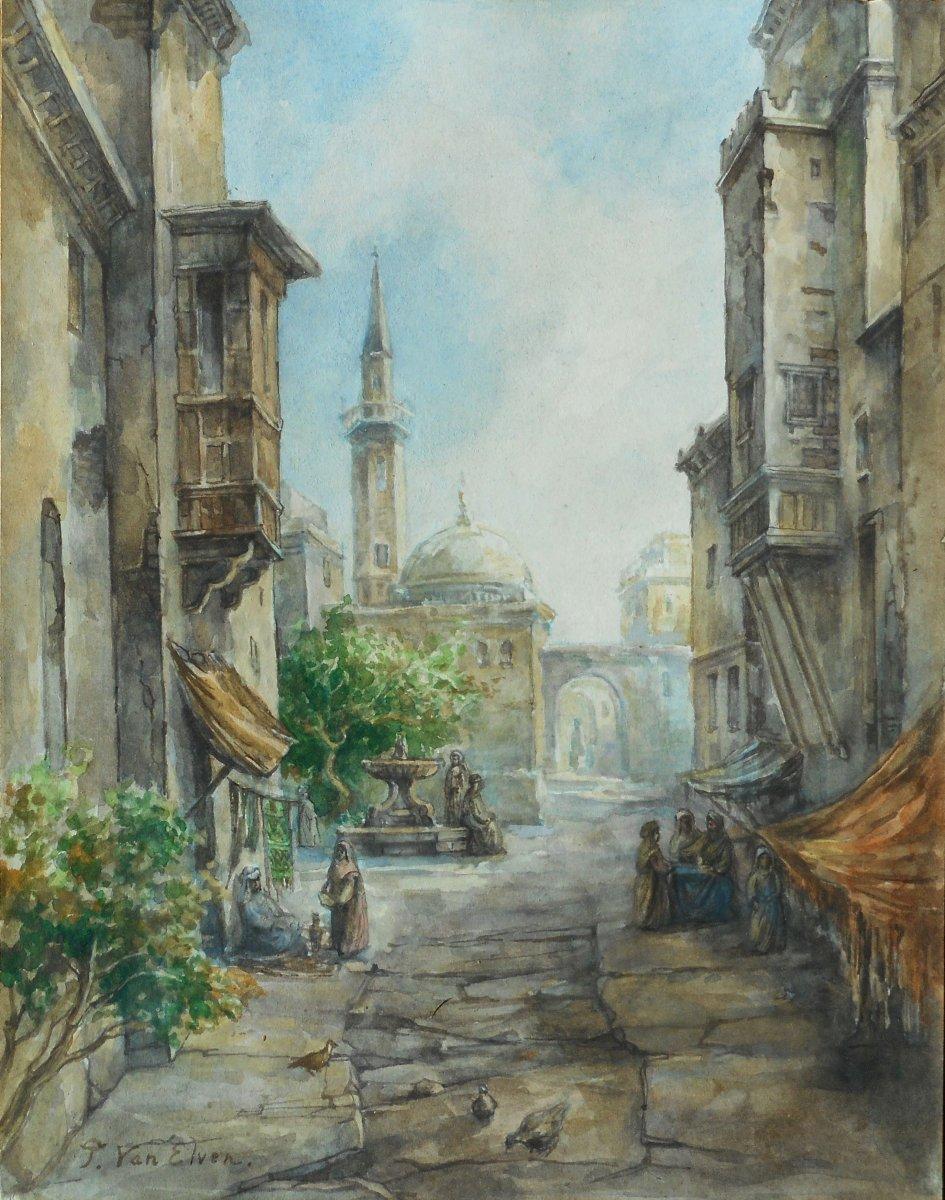 Pierre TETAR VAN ELVEN (1828-1908) TURQUIE - ISTANBUL -BOSPHORE aq 30x23,5cm