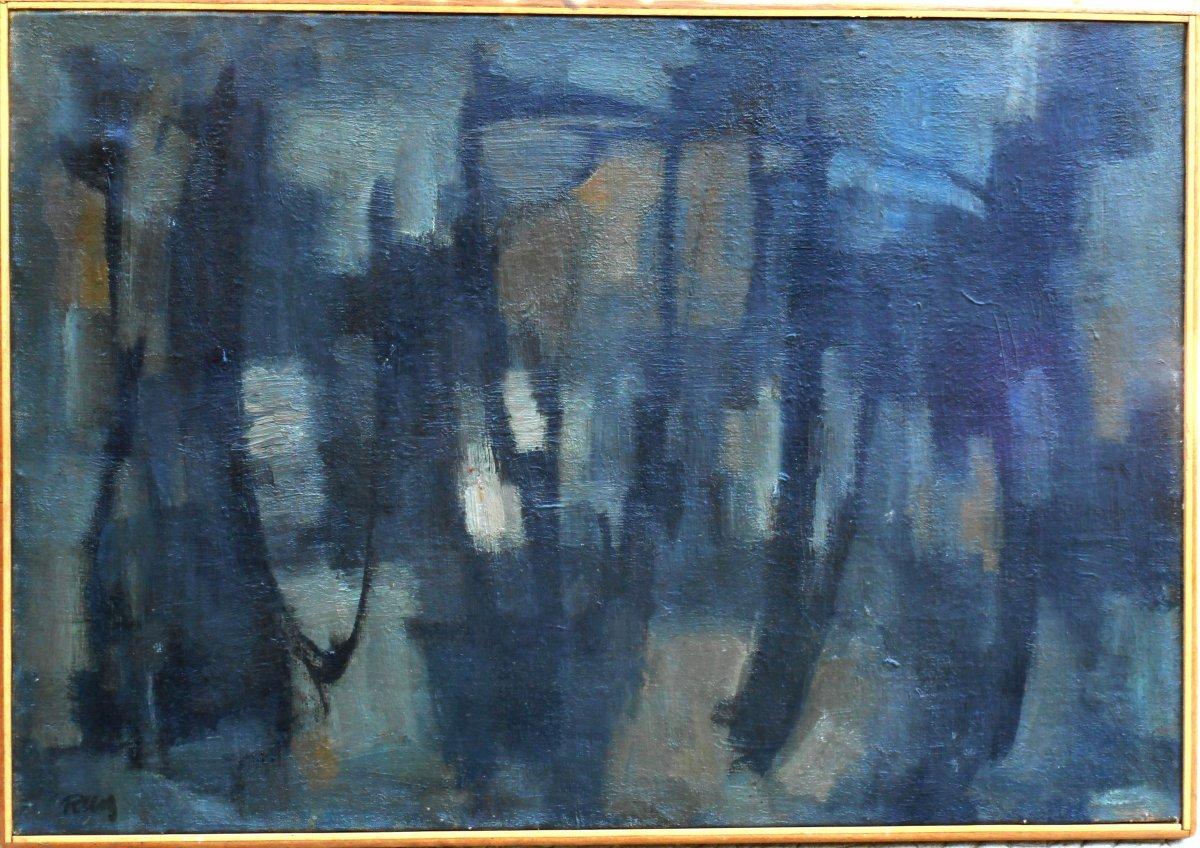 Lyric Abstraction 1962 - Unread Signature -  53x76cm -