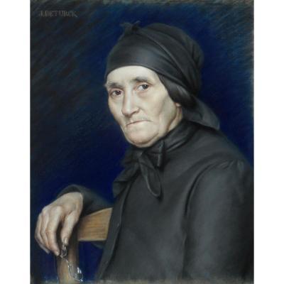 JULIEN  DETURCK (1862/1941)  BAILLEUL - NORD pastel sur toile