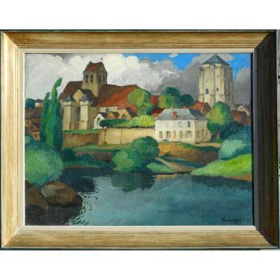 Gaston BALANDE(1880/1971) LA ROCHE POSAY- 88x116cm-POITIERS