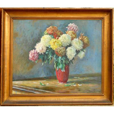 HENRI PAILLER(1876/1954) chrysanthèmes 1908 CROZANT POITIERS