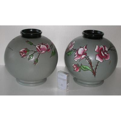 MONTIERES - montières AMIENS - paire de vases H 27cm