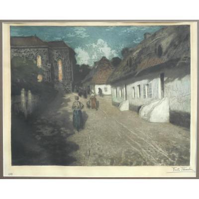 FRITS THAULOW (1847/1906) Norvège - aquatinte 49x62cm