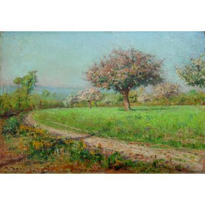 RAOUL DAVID(1876-1950) Vitré - pommiers en fleurs - BRETAGNE