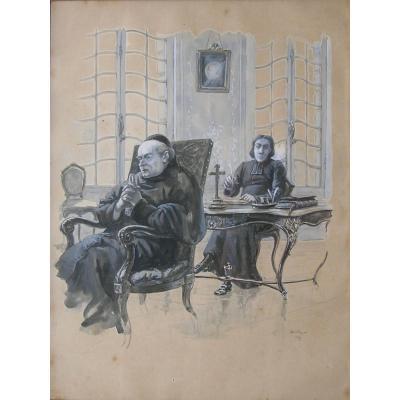 René Maxime Choquet (1872/1958) Basque Painter - Ecclesiastics