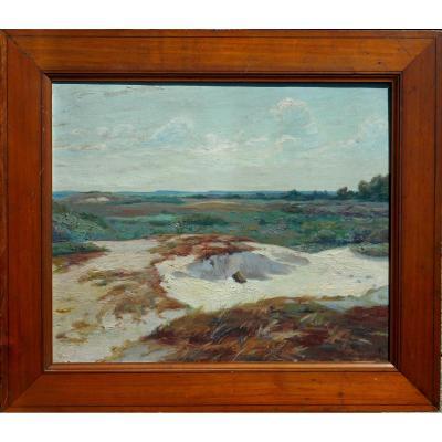 """CHARLES ROUSSEL (1861-1938)""""dunes vers GROFFLIERS"""" HST 46x55cm - ecole de BERCK"""