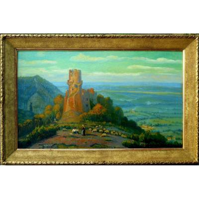 MAURICE BUSSET (1881-1936) TOURNOEL en AUVERGNE 1935 - VOLVIC - HSP 61x101cm