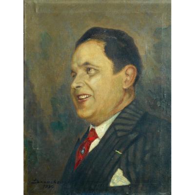 Jean Baptiste ISSANCHOU (1875-1960) LIMOGES - portrait 1934 - HST 61x46cm