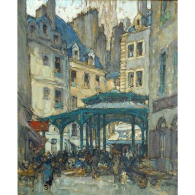 GEORGES GOBO (1876-1958) SAINT MALO -marché à la HALLE aux POISSONS détruite en 1944