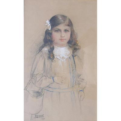 HENRI JAMET (1858-1940)  -CROZANT- GARGILESSE-GIEN- portrait de jeune fille 1916