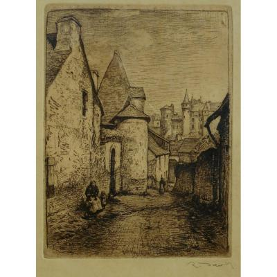 Raoul David (1876-1950) Vitré The Manor Of Pierre Landais Etching- Rennes - Bretagne