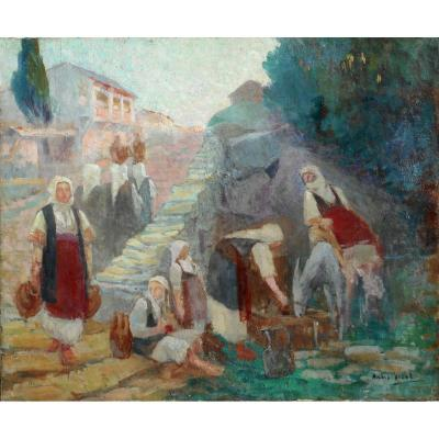 André VIDAL - GRECE (Grèce) - Macédoine -  BUF près de FLORINA  (C 1920) HST 54x65cm