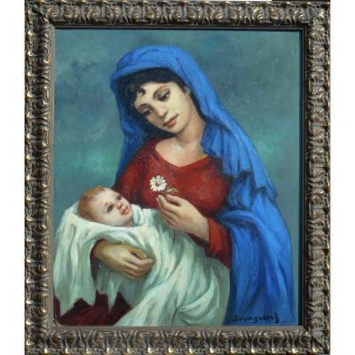 """ANATOLA  SOUNGOUROFF (1911-1982) """"Maternité"""" HST 55x46cm"""