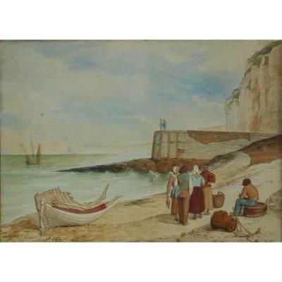 Auguste LELOIR (1809-1892)  jetée d' YPORT - ETRETAT - ecole de BERCK