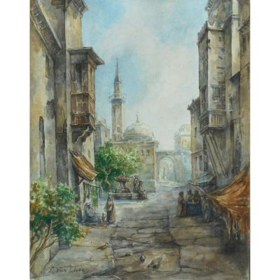 Pierre Tetar Van Elven (1828-1908) Turkey - Istanbul -bosphore Aq 30x23,5cm