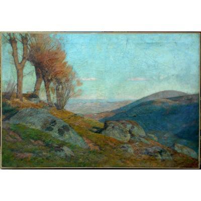THEOPHILE  TAILHANDIER (1874-1939) vallée de ROYAT - AUVERGNE - PUY DE DÔME - HST 55x81cm