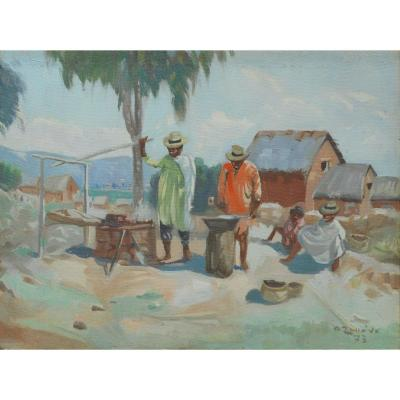 Albert RANAIVO- Hst 30x39cm 1973- Madagascar - Malgache  Ratovo - Rajesy - Ramanankamonjy