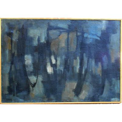 Lyric Abstraction 1962 - Unread Signature -  53x76cm -