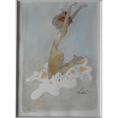 """KIRAZ( 1923-2020) -  """"parisienne"""" aquarelle gouachée 26x18cm"""