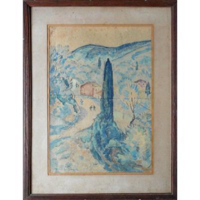 Alcide LE BEAU  (1872-1943) aquarelle 40x28cm vers 1920