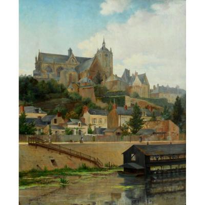 THEODORE  DAVID (1848-1915) LE MANS 1901 - HST 100x81cm- (Théodore DAVID SARTHE)
