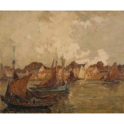Ernest Vauthrin (1878-1949) Hst54x65cm - Sardine Boats In The Port 1930
