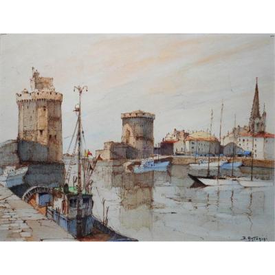 Dante ANTONINI (1914-1985) peintre basque - le port de LA ROCHELLE
