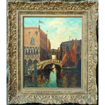Charles Cousin (1904-1972) Venice - Doge's Palace And Bridge Of Sighs