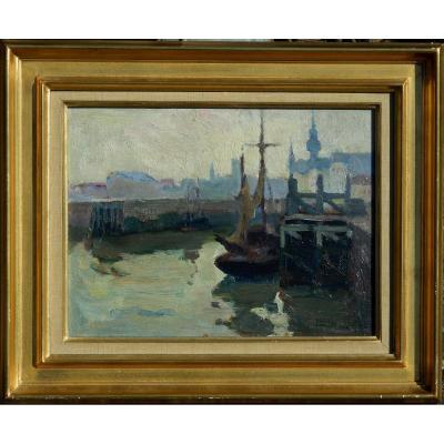 André LYNEN (1888-1984) BELGIQUE - peintre belge - HSP 24x32cm 1924