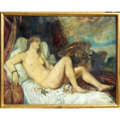 Danae XXth Copy Of Titian From Vienna - Hst 121x153cm