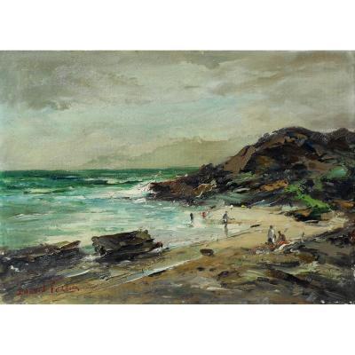 Durval Pereira (1917-1984) Brazil - Beach In Brazil Hsp33x46cm
