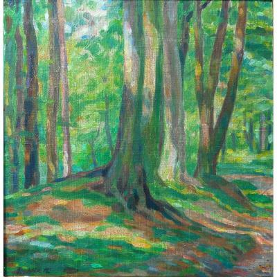 Edouard Hirth (1885-1980) Alsace - Strasbourg - Mulhouse Under Wood Circa 1915 -hsp23, X23cm