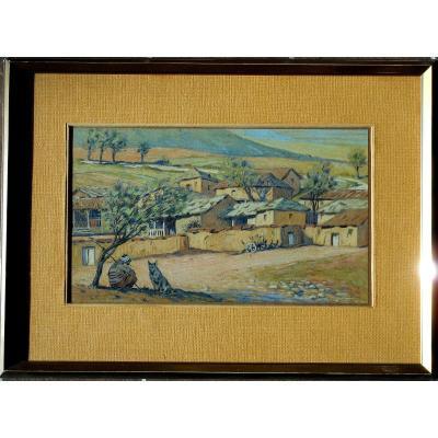 André FREMOND ( 1884-1965) village de MACEDOINE 1915