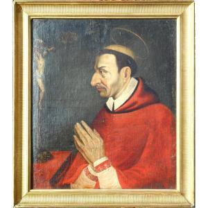 St  Charles Borromée - cardinal et archevêque  italien - HST 74 x 63 cm