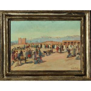 "GASTON  DUREL (1879 - 1954) ""les remparts de MARRAKECH "" MAROC"