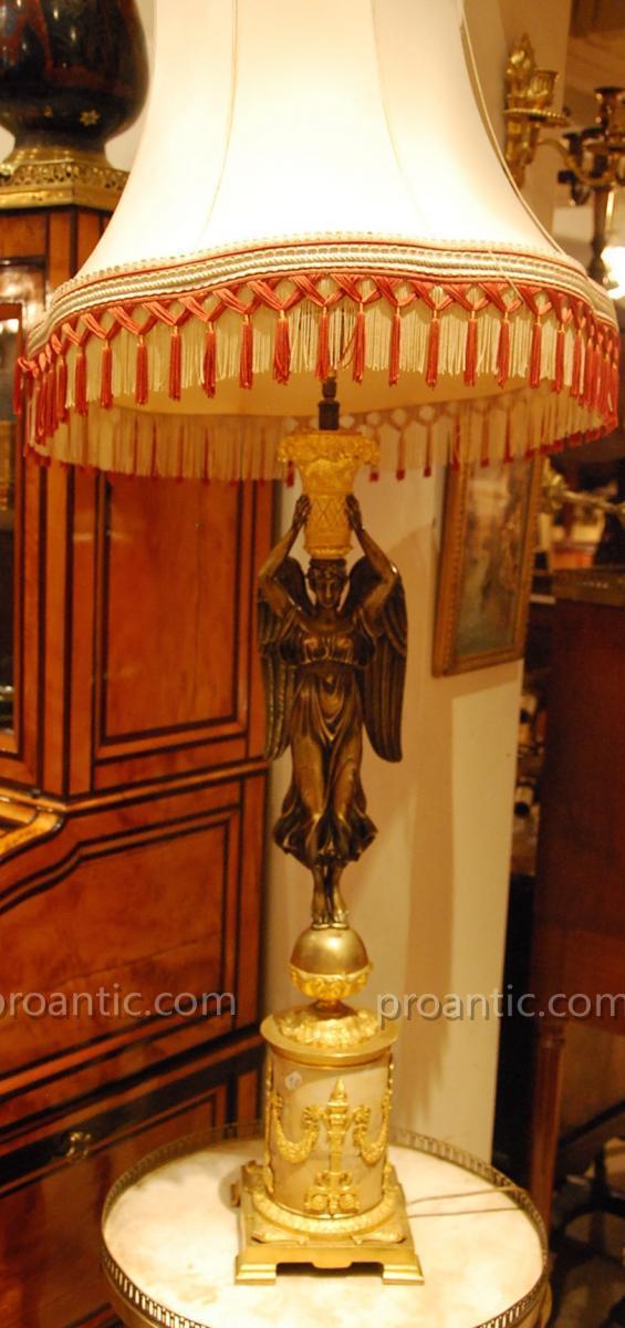 "Lampe En Bronze De Style Empire Fin 19ème"""
