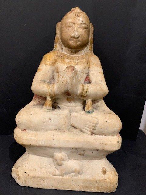 Bouddha En Marbre Blanc 18ème
