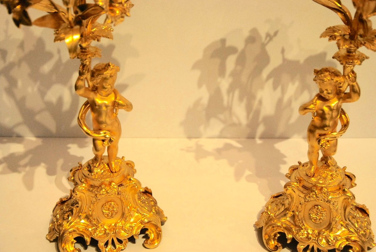 Pair Of Candelabra Late 19th-photo-3