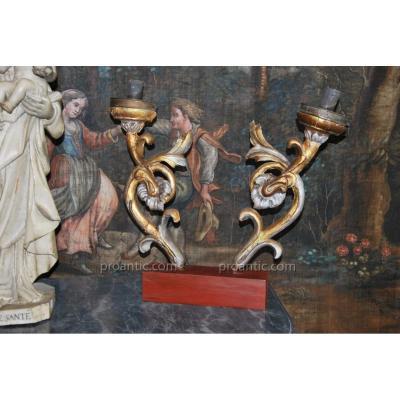 Paire De Candélabres Italiens 18ème