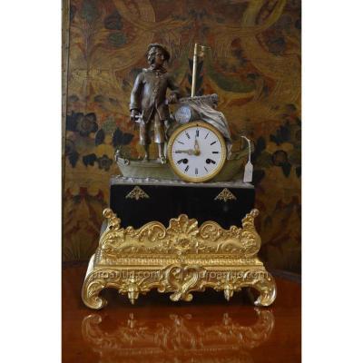 Pendule En Bronze Au Marin Breton 19ème
