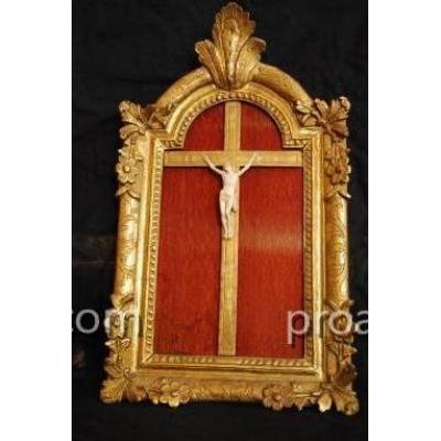 """Christ Crucifix En Ivoire Du XVIII ème"""""""