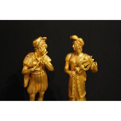 Paire De Statues En Bronze Doré d'époque Empire