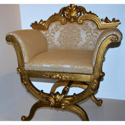 Curule Shape Seat In Golden Wood End 19th