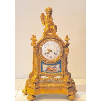 Gilt Bronze Clock And Porcelain Plate
