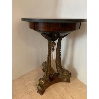 Empire Style Pedestal Table With Dolphins