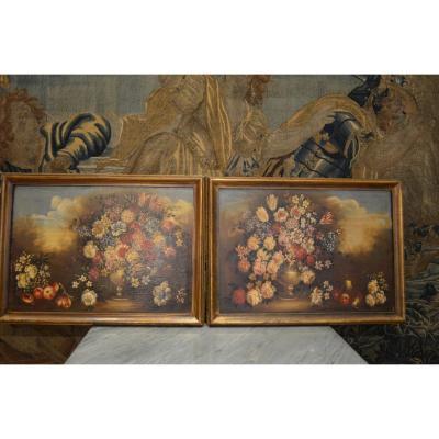 Paire De Bouquets De Fleurs 19ème