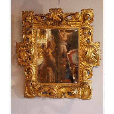 18th Italian Mirror In Golden Wood -