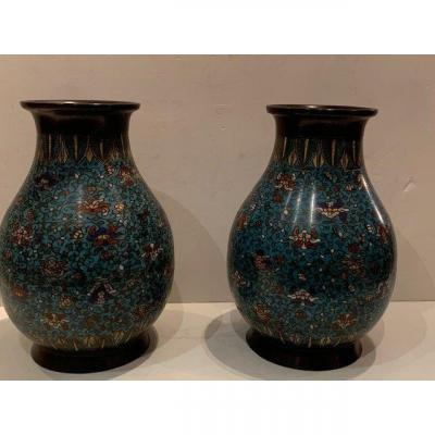 Paire De Vases En Cloisonné 19ème